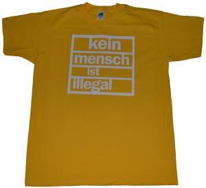 T-Shirt: Kein Mensch ist Illegal (weiß/gelb)