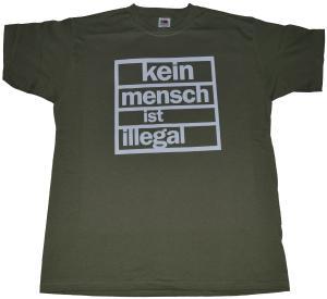T-Shirt: Kein Mensch ist Illegal (weiß/olivgrün)