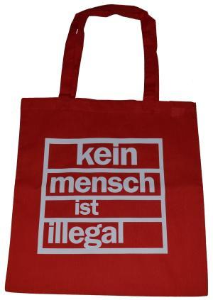 Baumwoll-Tragetasche: Kein Mensch ist Illegal (weiß/rot)