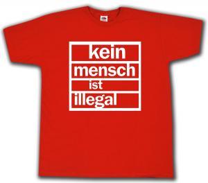 T-Shirt: Kein Mensch ist Illegal (weiß/rot)