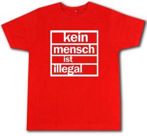 Fairtrade T-Shirt: Kein Mensch ist Illegal (weiß/rot)