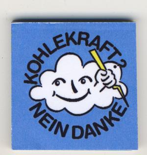 Spucki / Schlecki / Papieraufkleber: Kohlekraft? Nein Danke