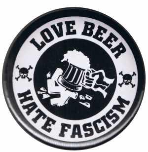 50mm Magnet-Button: Love Beer Hate Fascism