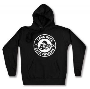 taillierter Kapuzen-Pullover: Love Beer Hate Fascism