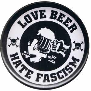37mm Magnet-Button: Love Beer Hate Fascism