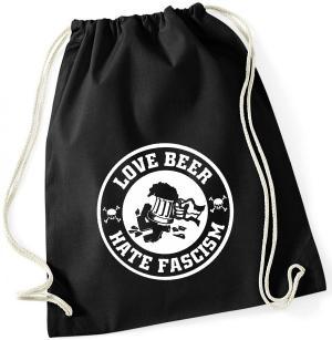 Sportbeutel: Love Beer Hate Fascism