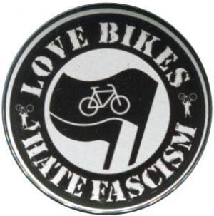 25mm Magnet-Button: Love Bikes Hate Fascism