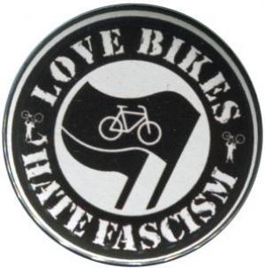 37mm Button: Love Bikes Hate Fascism