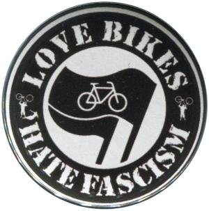 50mm Button: Love Bikes Hate Fascism