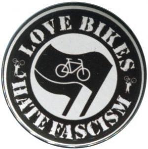 50mm Magnet-Button: Love Bikes Hate Fascism