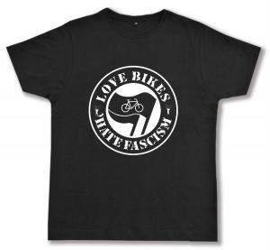 Fairtrade T-Shirt: Love Bikes Hate Fascism