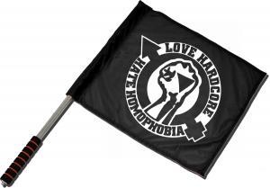 Fahne / Flagge (ca. 40x35cm): Love Hardcore - Hate Homophobia