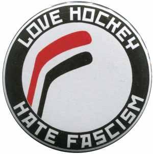 37mm Button: Love Hockey Hate Fascism