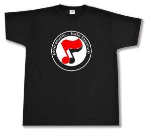 T-Shirt: love music - hate fascism (Noten)