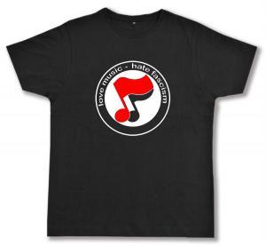 Fairtrade T-Shirt: love music - hate fascism (Noten)
