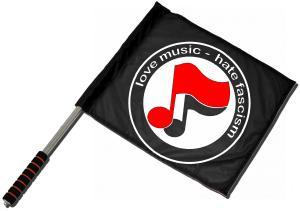 Fahne / Flagge (ca. 40x35cm): love music - hate fascism (Noten)