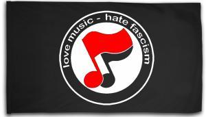 Fahne / Flagge (ca. 150x100cm): love music - hate fascism (Noten)