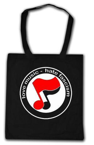 Baumwoll-Tragetasche: love music - hate fascism (Noten)
