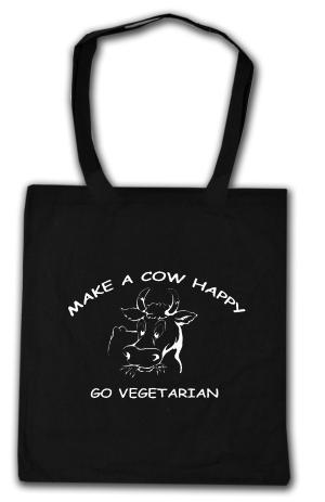 Baumwoll-Tragetasche: Make a Cow happy - Go Vegetarian