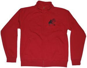 Sweat-Jacket: male A an die Wand