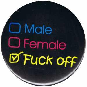 37mm Magnet-Button: Male Female Fuck off