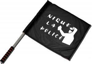 Fahne / Flagge (ca 40x35cm): Nique la police