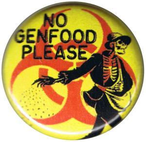 25mm Button: No Genfood Please