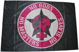 Fahne / Flagge (ca. 150x100cm): No Gods - No Masters - No Slaves