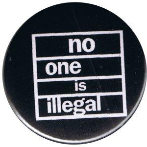 50mm Magnet-Button: No one is illegal (weiß/schwarz)