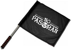 Fahne / Flagge (ca. 40x35cm): No Pasaran - Anti-Fascist Then As Now