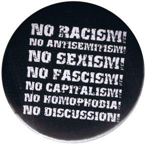 50mm Button: No Racism! No Antisemitism! No Sexism! No Fascism! No Capitalism! No Homophobia! No Discussion