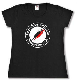 tailliertes T-Shirt: Pandemie und trotzdem da - Durchgeimpfte Antifa