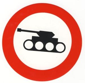 Aufkleber: Panzer verboten