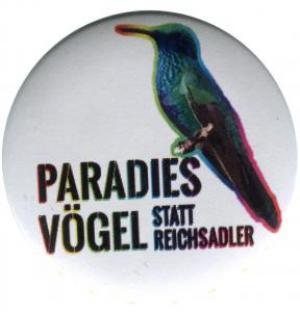 50mm Button: Paradiesvögel statt Reichsadler