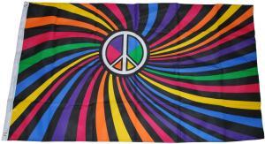 Fahne / Flagge (ca. 150x100cm): Peace (Farbstrudel)