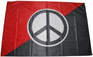 Fahne / Flagge (ca. 150x100cm): Peace (schwarz/rot)