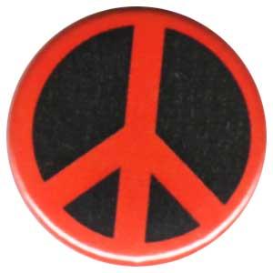 25mm Magnet-Button: Peacezeichen (schwarz/rot)