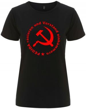 tailliertes Fairtrade T-Shirt: Pegida rasieren und Verstand einhämmern