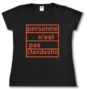 tailliertes T-Shirt: personne n´est pas clandestin (orange)