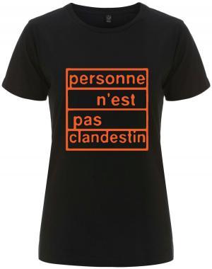 tailliertes Fairtrade T-Shirt: personne n´est pas clandestin (orange)