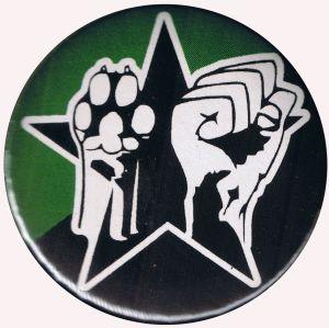 25mm Button: Pfote und Faust (schwarz/grüner Stern)