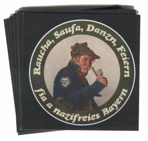 Aufkleber-Paket: Raucha Saufa Danzn Feiern fia a nazifreies Bayern (Pfeifenraucher)