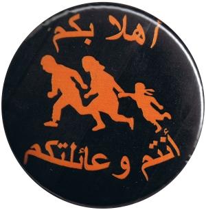 50mm Magnet-Button: Refugees welcome (arabisch)