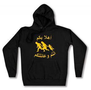 taillierter Kapuzen-Pullover: Refugees welcome (arabisch)