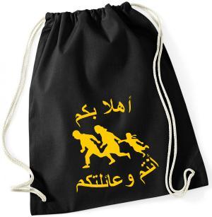 Sportbeutel: Refugees welcome (arabisch)