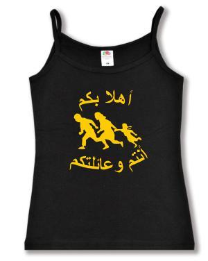 Top / Trägershirt: Refugees welcome (arabisch)