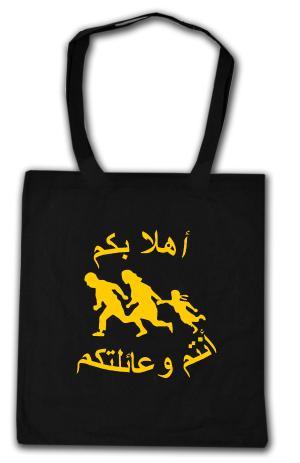 Baumwoll-Tragetasche: Refugees welcome (arabisch)