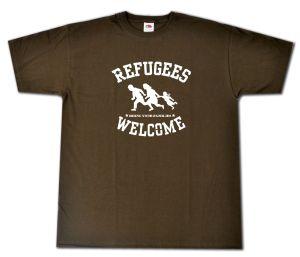 T-Shirt: Refugees welcome (braun/weißer Druck)