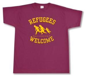T-Shirt: Refugees welcome (burgund, gelber Druck)