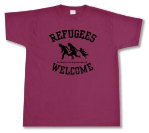 T-Shirt: Refugees welcome (burgund, schwarzer Druck)